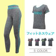 レディース 東京2020 半袖 フィットネス ウェア 上下 10枚セット(5色)