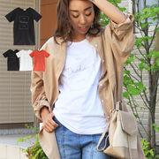 T/S ロゴTシャツ トップス 半袖Tシャツ シンプル TOPS ルーズフィット 韓国