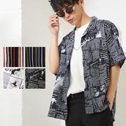 【2019春夏新作】メンズ ストライプ ニュースペーパー 半袖 ポリ 開襟 オープンカラー シャツ