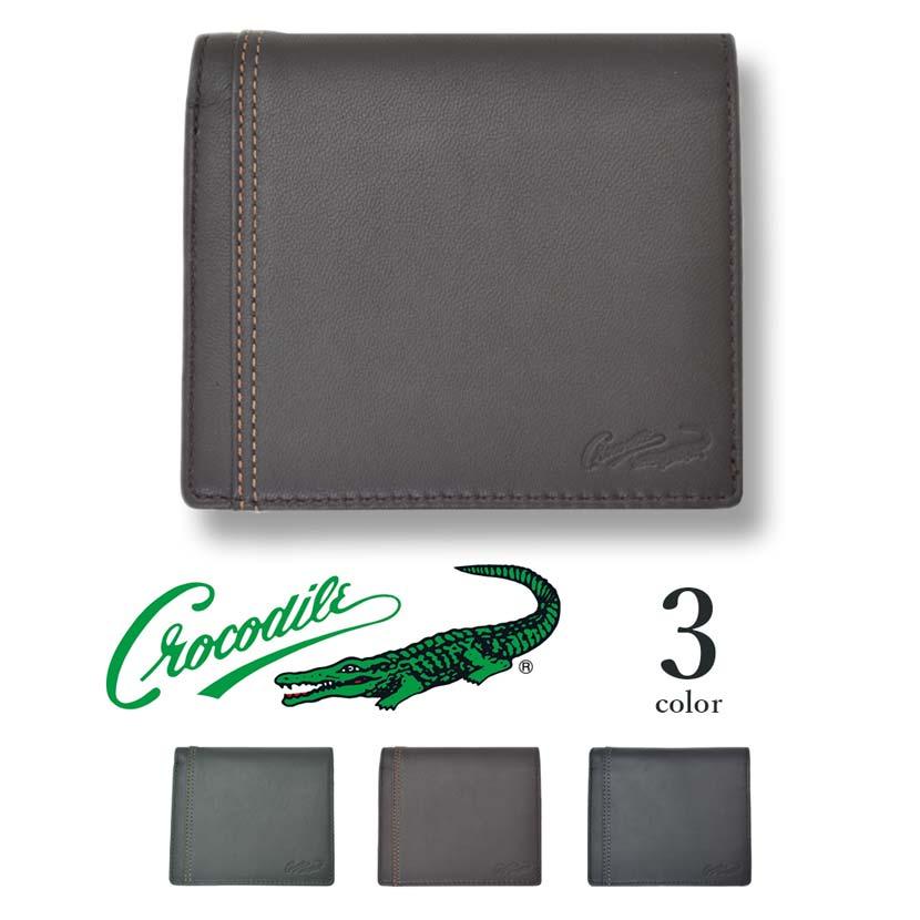 【全3色】 CROCODILE クロコダイル ウォレット 二つ折りボックス型小銭入れ付き 財布 リアルレザー
