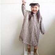 秋 子供 ワンピース 女の子 シンプル ファッション チェック 格子 カジュアル 綿麻 長袖