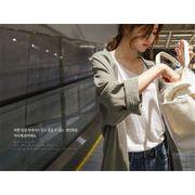 大感謝祭限定 韓国ファッション 中・長セクション ゆったりする カーディガン シルク 長袖 個性 コート