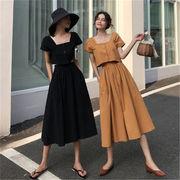 INS熱い販売 絶対的な高品質/韓国ファッション 2019 イージー 無地 Tシャツ スカート 全2色  春夏 新作