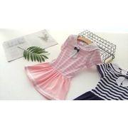 赤ちゃん ネイビー 襟 ワンピース 夏服 韓国風 新しいデザイン 女子供服 児童 縞模様