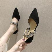 ヒント ピーズ靴 女 夏 新しいデザイン 韓国風 何でも似合う ローヒール 浅い口 ダイ
