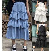 韓国ファッション 全3色 ミニスカート フリル アシンメトリー 体型カバー 着痩せ 無地 sweet系