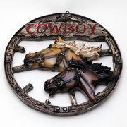 カウボーイモチーフ 馬レリーフ装飾 壁掛けオブジェ 車輪型 ■ 馬 オブジェ ウエスタン 西部