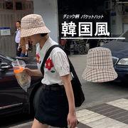 レディース韓国風 バケットハット チェック柄 紫外線対策 小顔効果 漁師帽 UVカット 折りたたみ