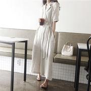 💖韓国ファッション超高品質💖 2019年夏新 ルーズ スリム ジャンプスーツ リネン