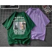 メンズ新作トップス カットソー 半袖Tシャツ ゆったり グリーン/パープル2色