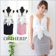 フラワー刺繍ペプラムタイトドレス