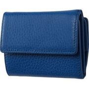 FRUHイタリアンレザー3つ折り財布(コンパクトウォレット)ブルー