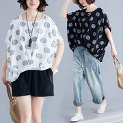 大きいサイズ ドルマンTシャツ 夏 ゆったり 不規則裾 半袖 トップス カジュアル F 0532799