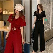 【大きいサイズL-4XL】ファッション/上下セットTシャツ♪ブラック/アカ2色展開◆