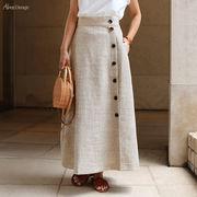 【V-5】リネンタッチ サイドボタン ロング スカート
