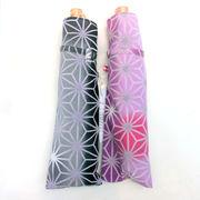 【日本製】【晴雨兼用】【折りたたみ傘】和調ちりめん小紋生地麻かすみ柄日本製UVカット折畳傘