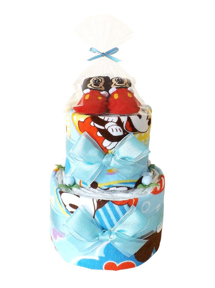 ディズニー ミッキーマウス おむつケーキ ベビーソックス付き 2段
