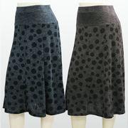 【秋物】レディース スカート ヨーク切替 8枚剥ぎ ドット柄 スカート