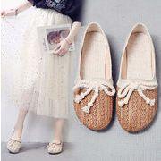 シューズ パンプス シンプル リボン 透かし編み ソフト カジュアル 韓国ファッション