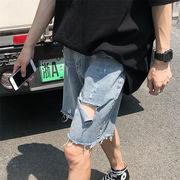 超人気インスタグラムで話題 メンズ 夏 韓国 ショーツ メンズ タイド ジーンズ ユース ストレートパンツ