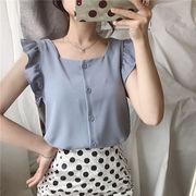 キクラゲなようなエッジ ベスト シャツ 女 夏 新しいデザイン 韓国風 スウィート シン