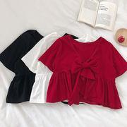 単一色 バスト 前 リボン 不規則な シャツ 女 夏 新しいデザイン 韓国風 ファッショ