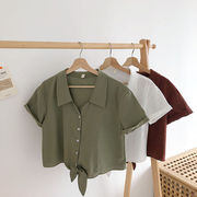 純 カラー 半袖 襟 シャツ 女 夏 新しいデザイン 韓国風 味 ルース シングル列ボタ