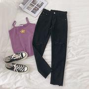 単一色 ハイウエスト バリ 穴あき 九分 女性のジーンズ 新しいデザイン 韓国風 個性