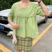 夏 新しいデザイン 韓国風 スクエアネック キクラゲなようなエッジ 五分袖 人形 シャツ