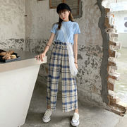 夏 韓国風 新しいデザイン 単一色 短いスタイル 半袖 シャツ 女 グリッド ハイウエス