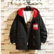 メンズ新作ジャケット コート 長袖トップス カジュアル ブラック/オフホワイト2色