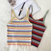 虹色 ストライプス ニッティング 小ベスト 女 夏 新しいデザイン 韓国風 着やせ 何で