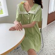 夏 韓国風 新しいデザイン 海軍風 半袖 小 個 息子 ワンピース 女 ルース 着やせ