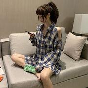 秋服 韓国風 ルース 着やせ 肩なし 長袖シャツ 女 味 レトロシャツ アウターウェア