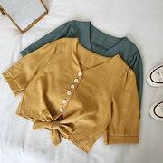 襟 シングル列ボタン グリッド 半袖のワイシャツ 女 夏 新しいデザイン 韓国風 何でも