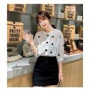 2色 韓国 可愛セクシー レディーズ 合わせやすい カジュアル 七分袖ワンピース ブラウス  シャツ