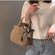 激安☆インスタ映えストローバッグ◆信玄袋式◆ハンドバッグ★草編み★カゴバッグ◆エコバッグ藤編み