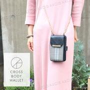 合皮×グレンチェッククロスボディウォレット / スマホショルダー スマホケース 財布 カードケース