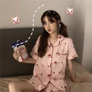 夏 新しいデザイン 韓国風 かわいい 豚 薄いスタイル ルース トップス ショートパンツ