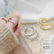 【即納】【リング】全2色!シルバー925 2連風クロスオープンリング指輪 [kgf0506]