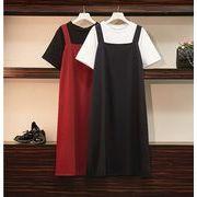 【大きいサイズL-4XL】ファッション/人気/2枚セットトップス♪ブラック/アカ2色展開◆
