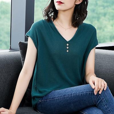 ☆ 10色夏★最強の新作★韓国ファッション可愛 シンプル 半袖 Tシャツ ブラウス 全10色