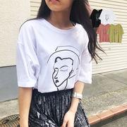 フェイスアートプリントTシャツ アートT シンプルTシャツ 半袖 トップス TOPS 新作秋冬