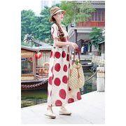 全2色 韓国ファッション可愛 レディーズ 合わせやすい カジュアル ドット 半袖 シフォンワンピース