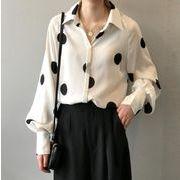 YUNOHAMI  全2色  新しいデザイン ワイシャツ ドット柄 長袖 シフォンシャツ ゆったり 韓国ファション