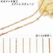 18金メッキ★高品質ステンレス製 ネックレスチェーン 全8種類 45cm