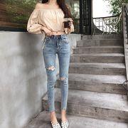 パンツ 新しいデザイン 韓国風 ハイウエスト 着やせ ストレッチ 穴のジーンズ 女 フィ