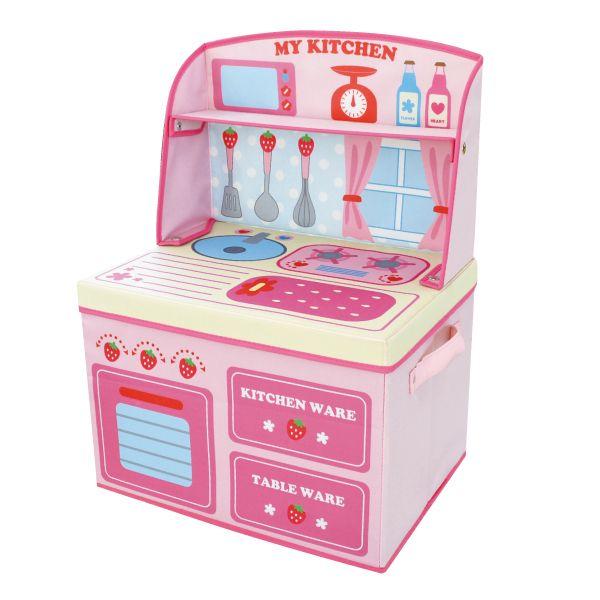 ままごと 収納 ボックス (イチゴキッチン)女の子向き 子供部屋 収納 おままごと お片付け