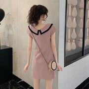 秋 新しいデザイン 韓国風 ファッション 2way 半袖スカート 女 複数色 スクエアネ