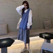 風 秋服 襟 単一色 ルース ベスト ベスト トップス 女 新しいデザイン 着やせ ハイ